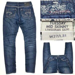 Silver Jeans Tuesday Mid SKINNY Dark Wash Stretch